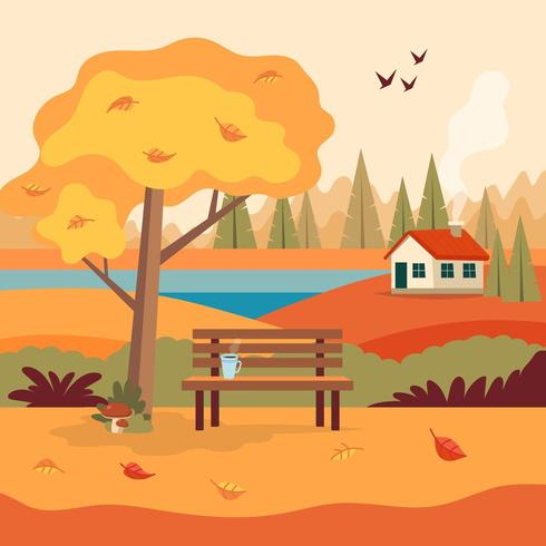 Autumn landscape rural scene with cute bench
