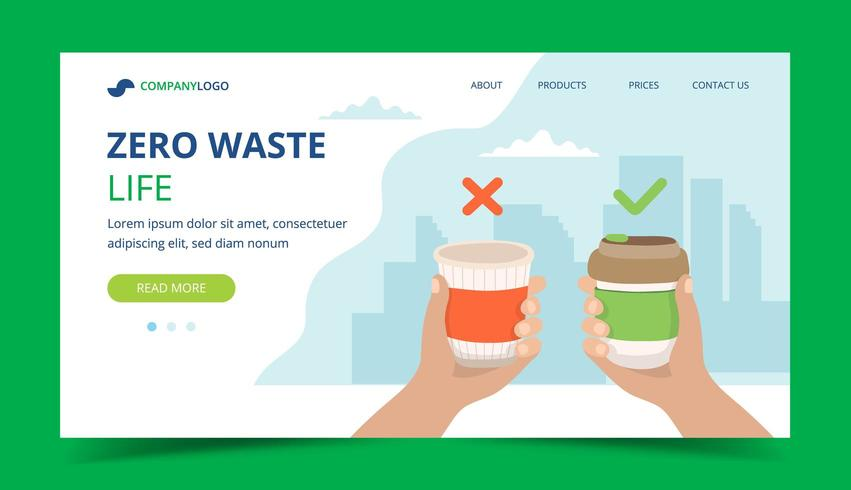 Zero Waste Landing Page mit wiederverwendbarer Kaffeetasse und Einwegbecher