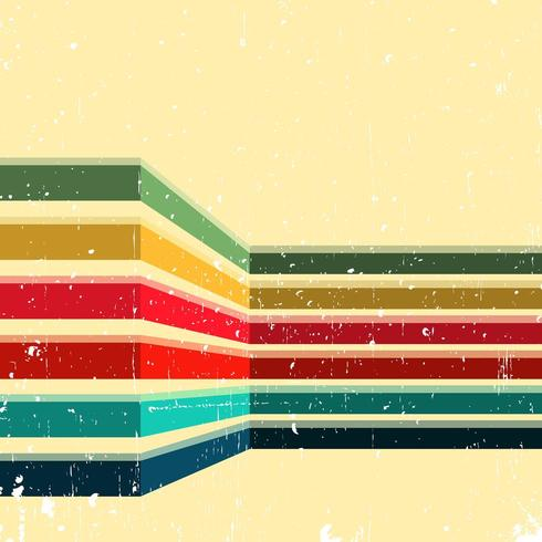 Vintage distressed background with colored stripes vector