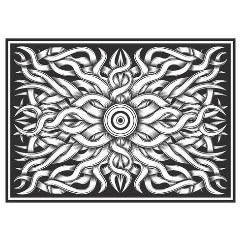 Videiras trançadas com efeito de madeira esculpida em preto e branco