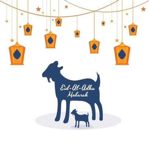 Eid Al Adha card with goat lantern illustration