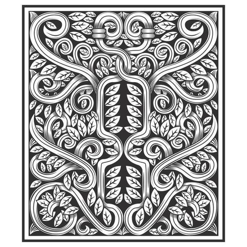 Motif effet bois sculpté vignes et feuilles tordues