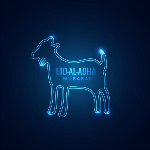 Eid ul-Adha mubarak Carte bleu néon pour festival musulman vecteur