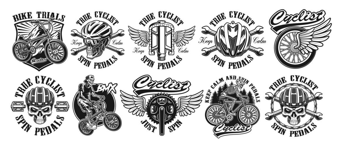 Conjunto de logotipos de ciclista vintage negro