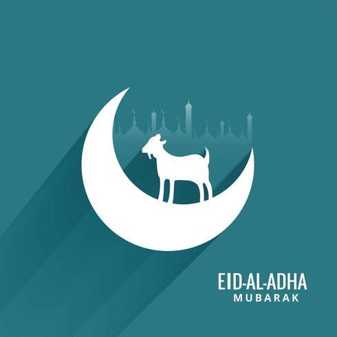 Diseño de tarjeta de felicitación de celebración Eid Al Adha vector