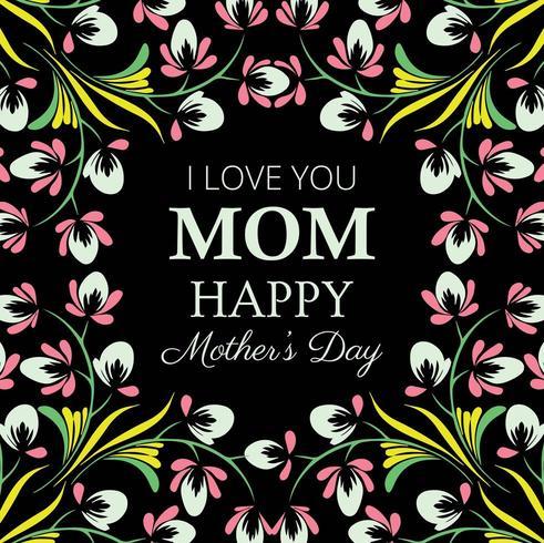 Happy Mother's Day Dark Floral card Design vector
