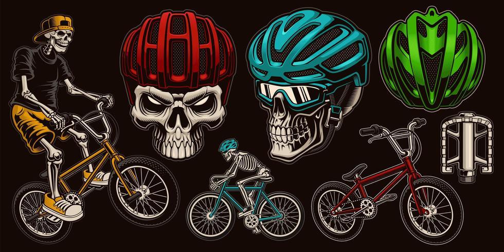 Set cycliste crâne coloré