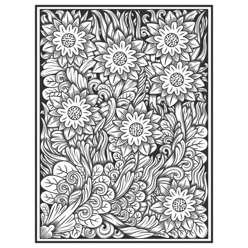Hand drawn etched effect floral pattern