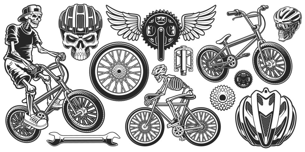 Set of Black and White Cyclist Themed Designs