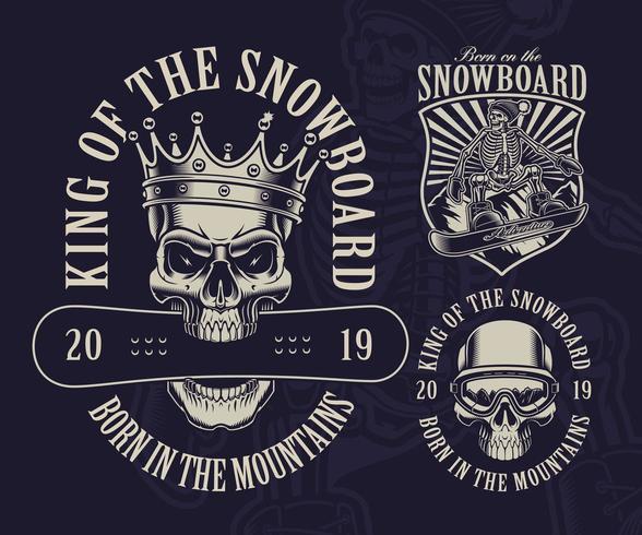 Satz Snowboard-Schädel-Thema-Designe