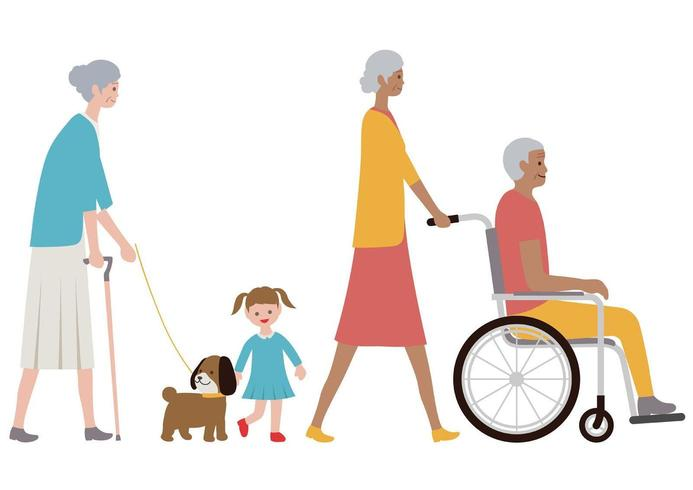 Ensemble de personnes âgées sur un fond blanc. vecteur