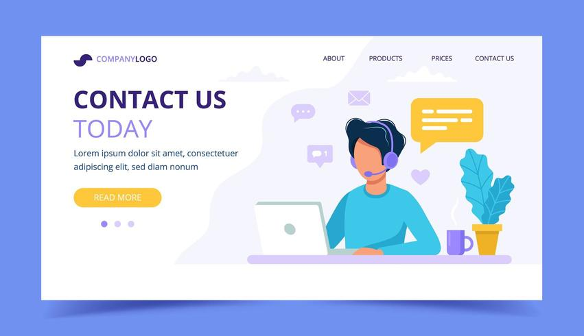 Contact us landing page with male vector