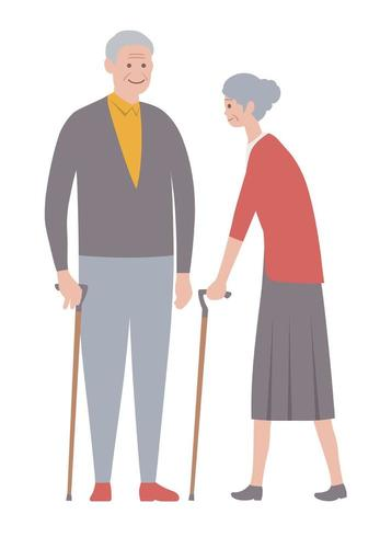 Conjunto de personas mayores aisladas vector