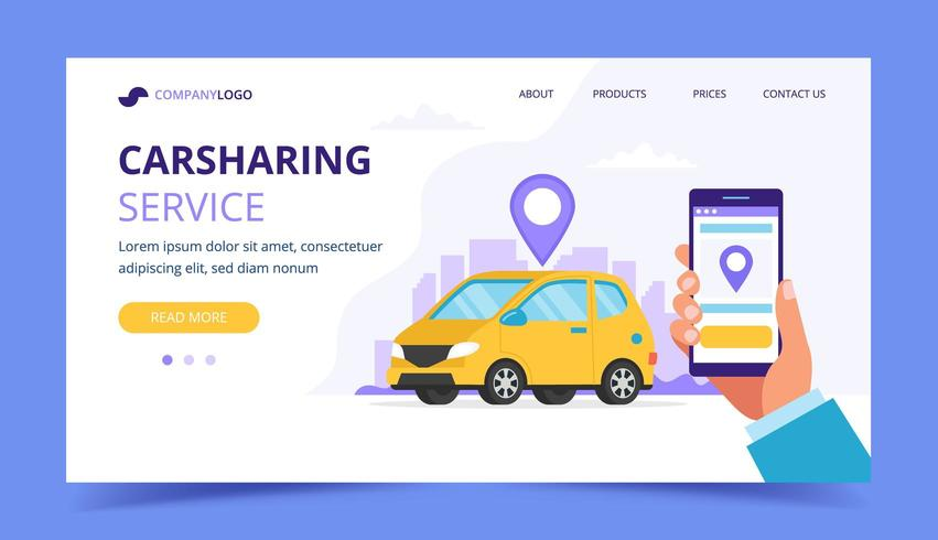 Carsharing landing page vector
