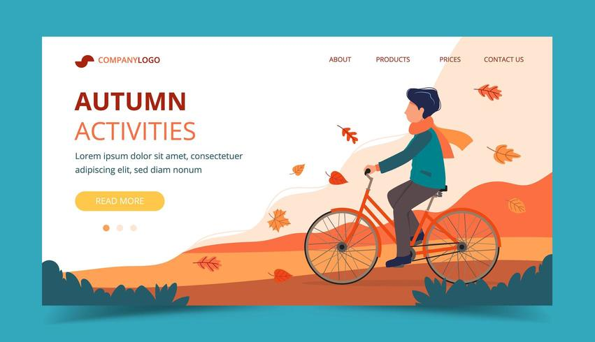 Man riding bike in the park in autumn. Landing page template vector