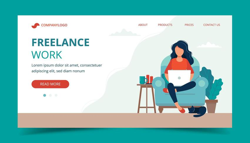 Freelance work - girl with laptop on the chair. Landing page template vector