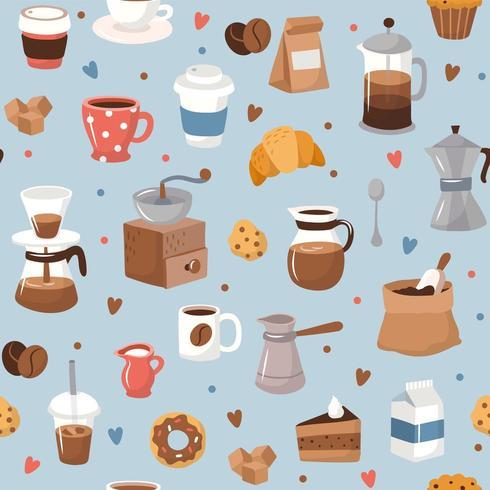 Patrón de café, diferentes elementos de café. vector