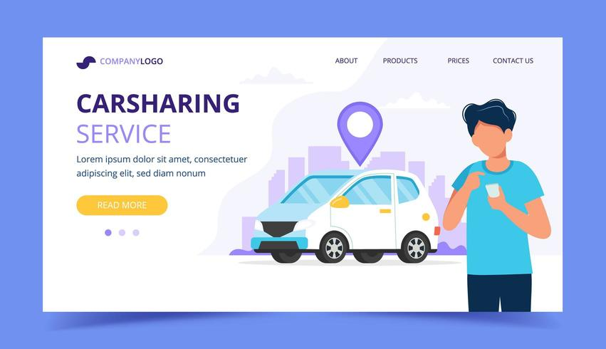 Carsharing concept. Man with smartphone. Landing page template vector