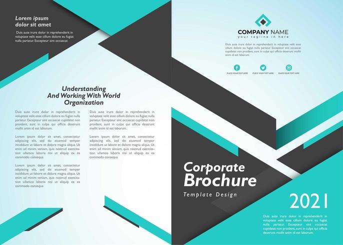 Brochure d'entreprise avec bleu géométrique sur couleur vecteur