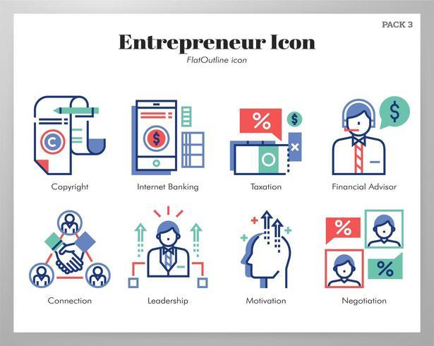 Paquete de esquema plano de iconos de emprendedor vector