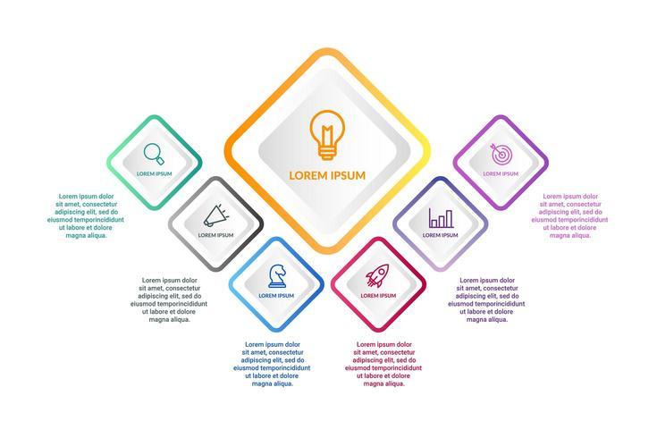 Infographic design med 6 ikoner alternativ eller steg