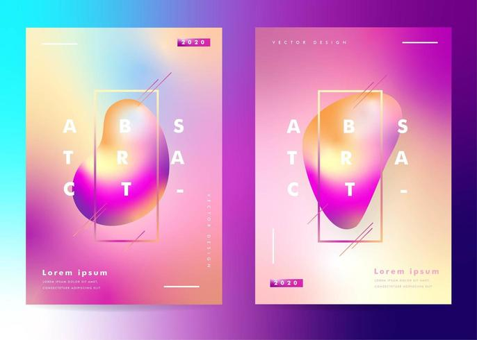 Set of  Posters with Gradient Liquid Effect vector