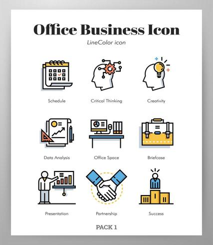 Office business icons Line Color pack vector