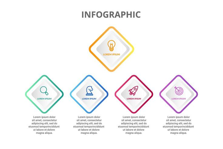 Diseño infográfico con 5 opciones de iconos o pasos.