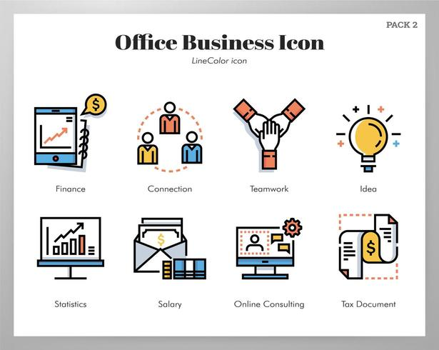 Ícones de negócios do Office Line Pack de cores vetor
