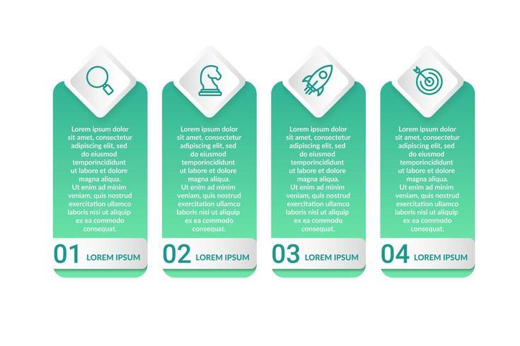 Diseño infográfico con 4 opciones de iconos o pasos.