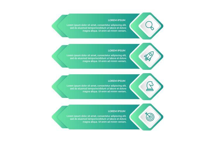 Infographic-ontwerp met 4 pictogrammenopties of stappen
