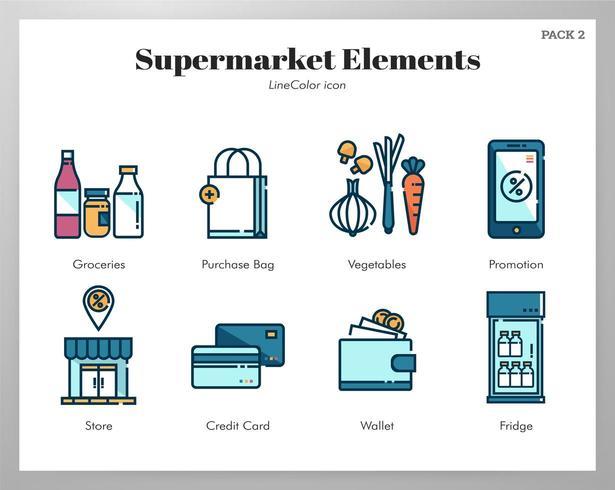 Supermarkt Elemente Line Color Pack