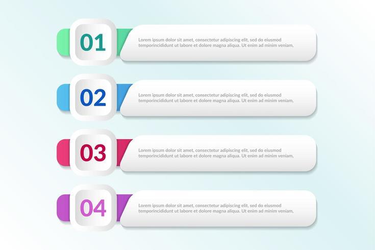 Lista de diseño infográfico con 4 listas para el concepto de negocio