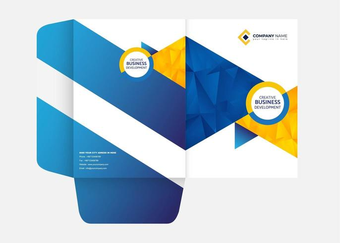 Blue and Yellow Folder Template vector