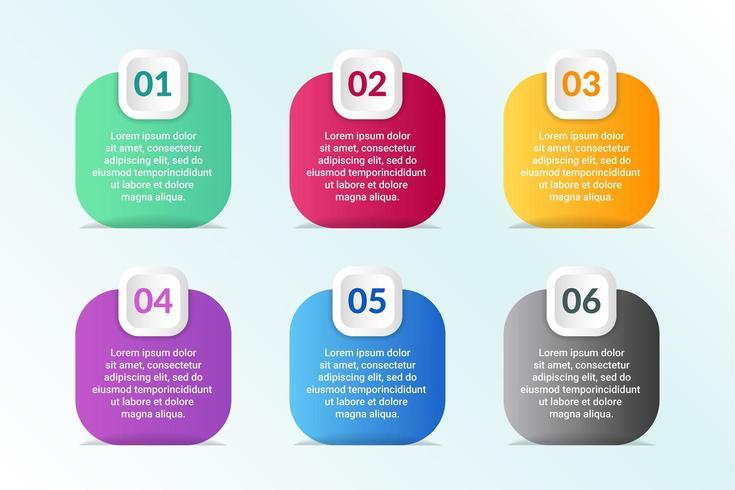 elenco Progettazione infografica con 6 elenchi per il concetto di business