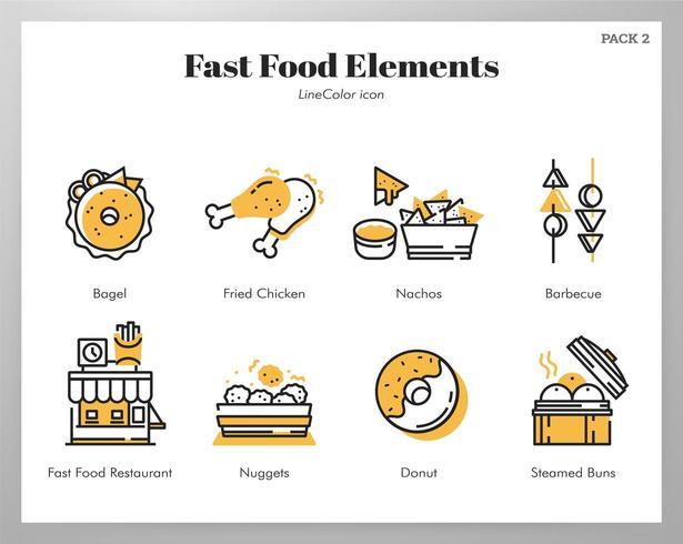 Elementos de comida rápida Line Color pack vector