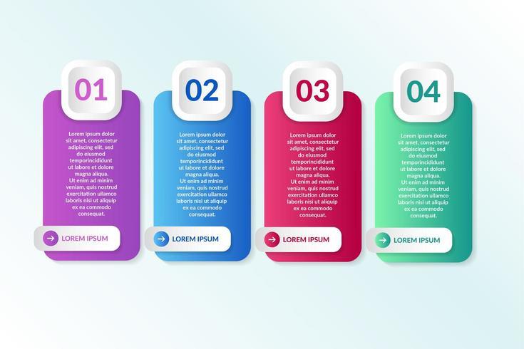 liste conception infographique avec 4 listes pour le concept d'entreprise