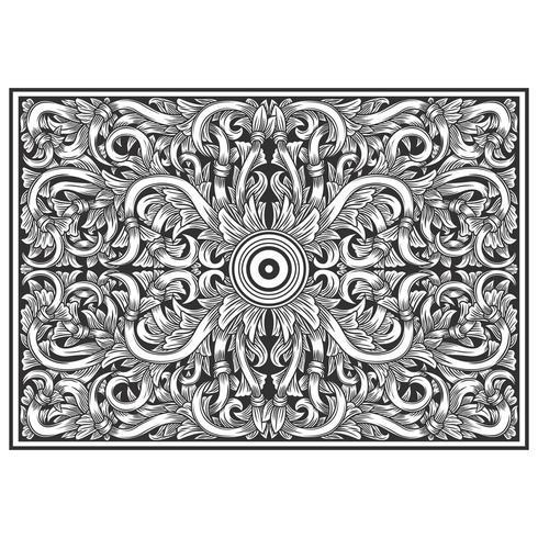 Motif botanique horizontal effet bois sculpté