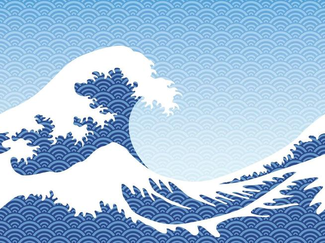Japanese vintage style seamless great blue waves.