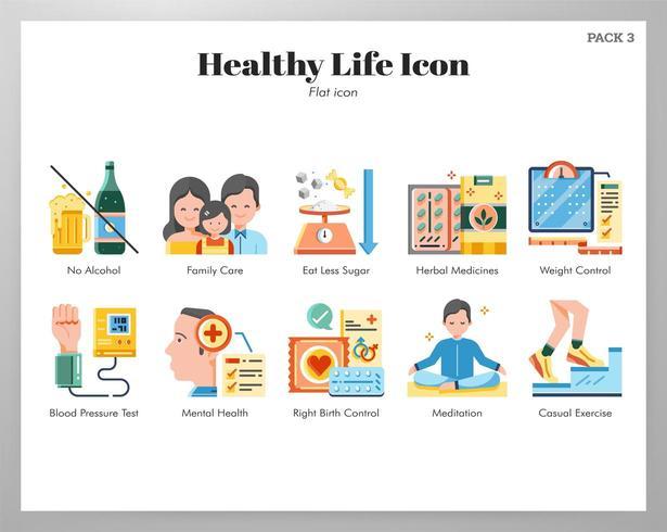 Paquete plano de iconos de vida sana vector