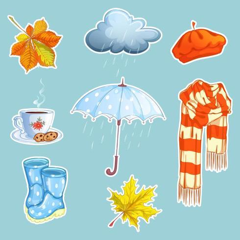 Ensemble d'autocollants à thème pluie