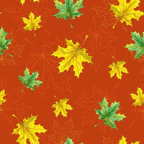 Seamless autumn pattern with fallen yellow and green maple leaves