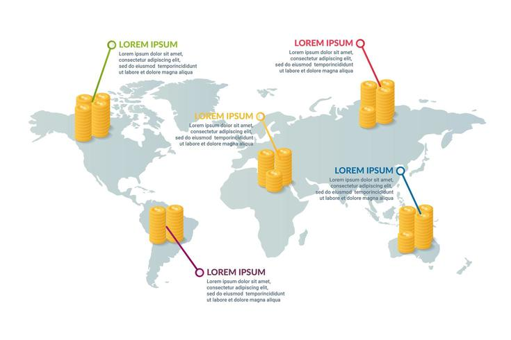 Diseño de infografía empresarial con fondo de mapa mundial