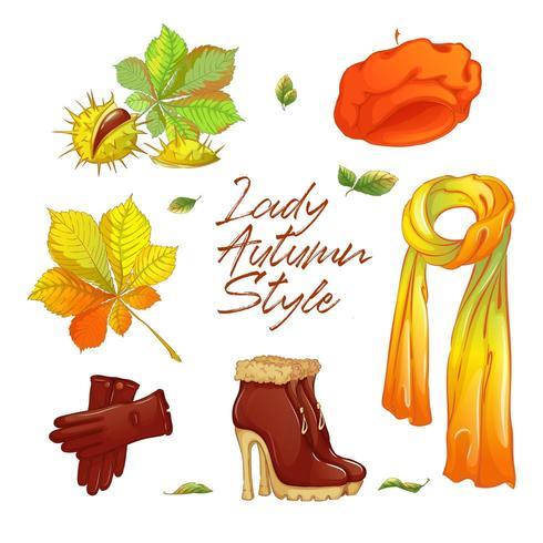 Etiqueta de otoño para dama de moda