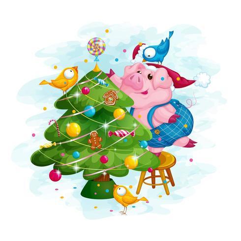 Ferkel und drei Vögel schmücken den Weihnachtsbaum