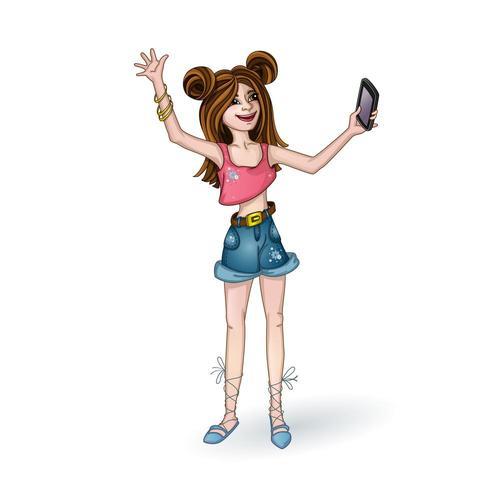 Un'adolescente negli shorts del denim che prende un selfie