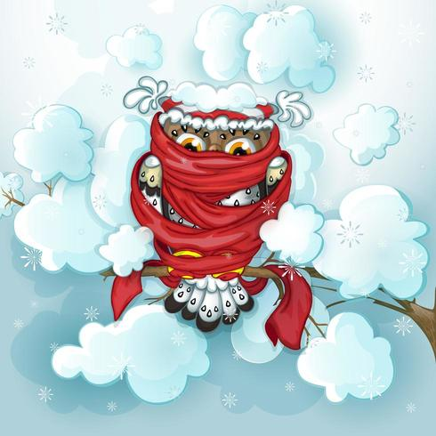 Gufo con cappello rosso sciarpa ubicazione sul ramo nevoso