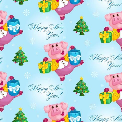 gris med julklappsmönster
