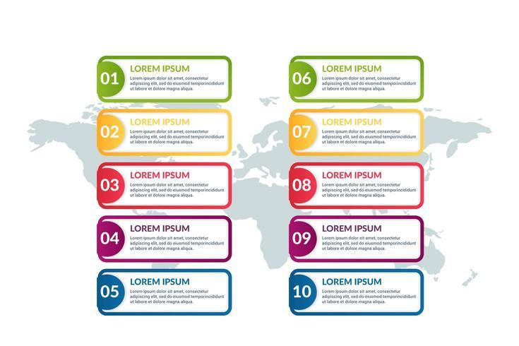 lista de diseño infográfico con fondo de mapa mundial