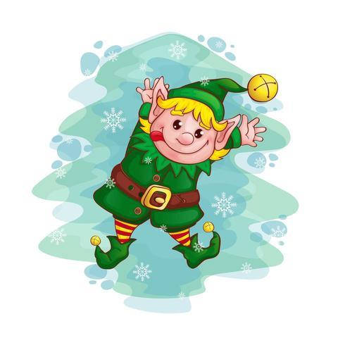 Christmas dancing elf  vector